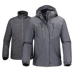 OutdoorMaster Mens' 3-in-1 Ski Jacket - Winter Jacket Set wi