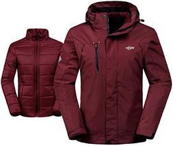Wantdo Women's 3-in-1 Waterproof Ski Jacket Windproof Puff L
