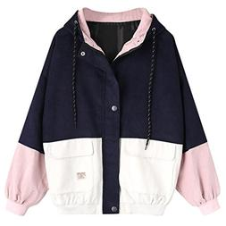 TOOPOOT 2018 New Coat ❤ Women Spring Autumn Corduroy Patch