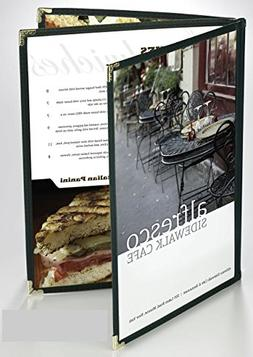 25 BETTER QUALITY Menu Covers #3154 GREEN TRIPLE PANEL BOOKL