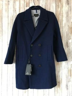 $345 MASSIMO DUTTI NAVY BLUE WOOL PEA COAT BUTTON UP JACKET
