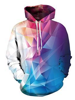 Uideazone 3D Diamond Hooded Sweatshirt Teenager Novelty Hood