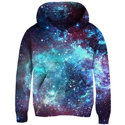 Uideazone 3D Nebula Star Cluster Pullover Hooded Sweatshirt