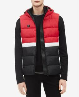 $496 CALVIN KLEIN Men's RED BLACK WHITE HOODED VEST QUILTED