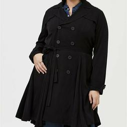 Torrid 6X Jacket Trench Double Breasted Pea Coat Black Fit &