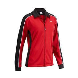 Speedo 7201482 Womens Streamline Warm Up Jacket, Black/Maroo