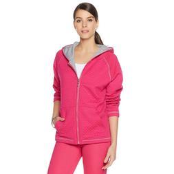 DG LUXSPORT Women's Novelty Stitch Zip Hoodie Jacket Pink X-