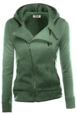DJT Womens Casual Oblique Zipper Hoodie Jacket Coat