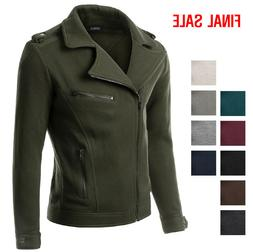 Doublju Casual Asymmetrical Zip Up Rider Jacket