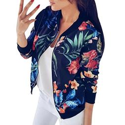 Gillberry Women Stand Collar Long Sleeve Zipper Floral Print