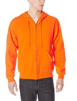 Jerzees Men's Adult Full Zip Hooded Sweatshirt, Safety Orang