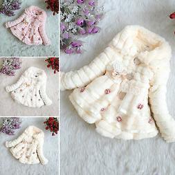 Kids Girls Baby Toddler Faux Fur Fleece Coat Winter Warm Par