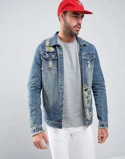 Liquor N Poker Men's Distressed Denim Jacket Size M. Fog A