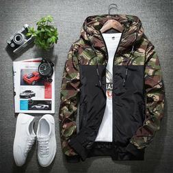 Men's Casual Hoodies Wind Breaker Coat Loose Jackets Sport C