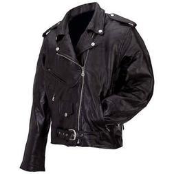 Men's Genuine Buffalo Leather Classic Black Motorcycle Biker