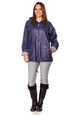 Rain Slicks Women's Classic Look Raincoat Hooded Plaid Lined