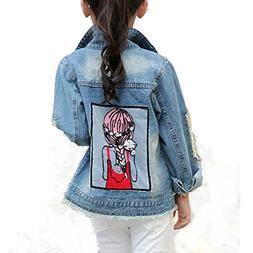 Star Flower Little Big Girls Denim Jackets Coats Outwear
