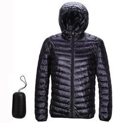 US Packable Men's Hoodie Down Jacket Winter Hooded Ultraligh