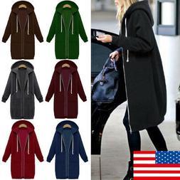 US Women Plus Size Long Sleeve Hooded Cardigan Zip Up Jacket