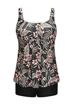 Wantdo Women's Plus Size Two Piece Swimsuit Floral Tankini S