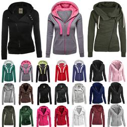 Winter Plain Zip Up Fleece Hoody Women Sweatshirt Coat Jacke