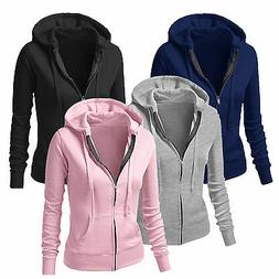 Women Plain Hoodies Fleece Sweatshirt Hooded Coat Casual Zip