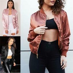 Women's Classic Bomber Jacket Coat Clothes Biker Outwear Zip