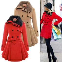Womens Winter Slim Fit Puffer Trench Coat Jacket Tops Thick