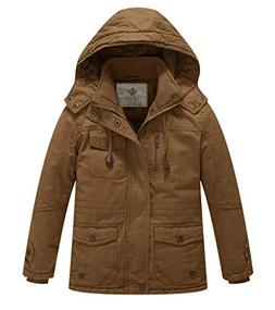 WenVen Boy's and Girl's Active Jacket with Removable Hood, B