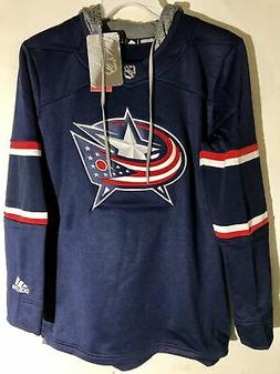 ADIDAS WOMEN'S NHL COLUMBUS BLUE JACKETS HOODIE NAVY SZ M
