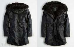American Eagle AE Womens Longer Length Lined Faux Fur Hood P