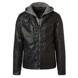 Alta MILJ120 Men's Faux Leather Moto Jacket - Black