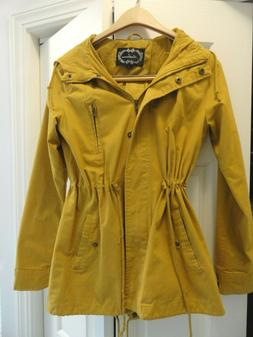Ladies  AMBIANCE Mustard Yellow Hooded Lined  Jacket Sz S