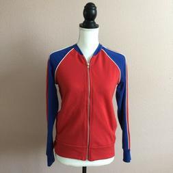 Alternative Apparel Women Full Zip Bomber Jacket Red Blue Wh