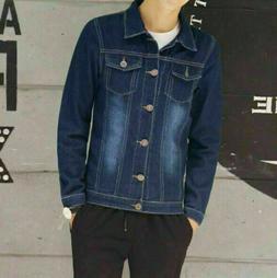 Autumn Men's retro Slim Fit Coat Jean Denim Jacket Casual Co