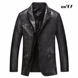 Autumn Men's Warm Faux Leather Jacket Men Thick Jackets Coat