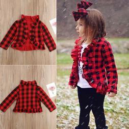Baby Girls Kids Checked Ruffle Coat Outerwear Toddler Kids J