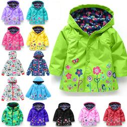 kids girls hooded waterproof jacket coat floral