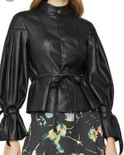 BCBG Max Azria Womens Faux Leather Jacket Black Pleated Coat