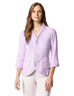 Casual Moments Women's Bed Jacket with Velcro Closings, Lila