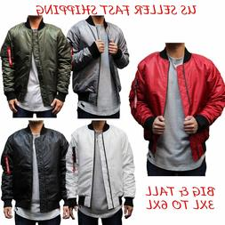 BIG AND TALL Men's Hip Hop MA-1 Flight Military Bomber Jacke