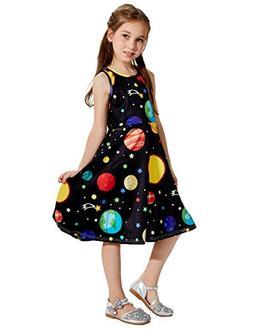 Uideazone Big Girls Cute Print Planet Knee Length Sleeveless