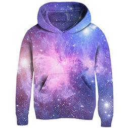Uideazone Big Girls Galaxy Fleece Pockets Sweatshirts Jacket