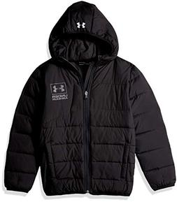 Under Armour Boys' Big Swarmdown Hooded Jacket, Black, Large