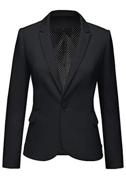 Lookbook Store Women's Black Notched Lapel Pocket Button Wor