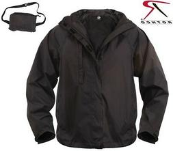 Black Tactical Waterproof Lightweight Packable Rain Jacket R