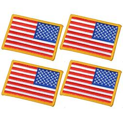 4 Pack, 3.5 X 2.5. Inch American US Flag Embroidered Cloth S