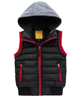 Wantdo Boy's Hooded Puffer Fleece Vest Warm Sleeveless Thick