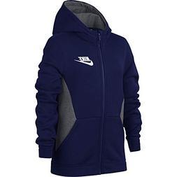 NIKE Boy's Sportswear Full Zip Hoodie Blue Void/Carbon Heath