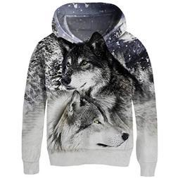 Uideazone Boys Girls Printed Snow Mountain Wolf Hoodie Casua